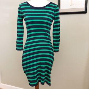 Express Green & Blue Stripe long sleeve Bodycon S